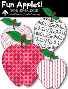 Fun Apples! clipart. These ** 19 ** adorable apples are just perfect for adding to your classroom materials and educational products that you sell on Teachers Pay Teachers or other sell sites. Commercial and personal use is ok. TeacherKarma.com