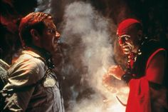 Harrison Ford as #IndianaJones with Amrish Puri as Mola Ram in The Temple of Doom (1984).