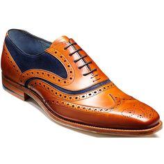 6cd0c2b4d7998b Barker Men s McClean Cedar Calf Brogue Tie Shoe With Blue Suede UK 6