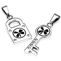 SPIKES 316L Stainless Steel 4 Leaf Lock and Key Pendant Set
