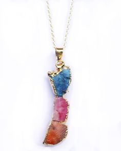 Druzy Colorful Natural Stone Pendant Necklace - foxandcrab  - 1