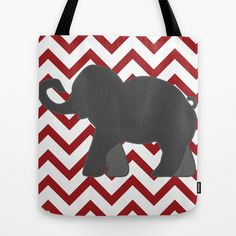 Roll Tide Elephant Crimson Tide Alabama Tote Bag by Wrightbrained - $22.00
