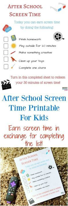 Free screen time printable for kids to earn screen time in exchange for completing the list of chores or tasks! Limit their screen time and ensure they have a good balance of after school activities. Chores For Kids, Activities For Kids, After School Schedule, Screen Time For Kids, Time Kids, Character Education Lessons, Best Kids Watches, School Routines, Kids And Parenting