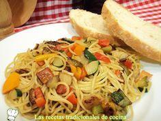 Recetas de cocina con sabor tradicional: Receta de espaguetis con verduras
