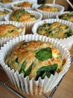 Photo: Feta, Cheddar and Spinach Muffins INGREDIENTS 300 g plain flour or Almond flour 2 1/2 tsp baking powder 100 g light cheddar cheese 150 g chopped feta 130 g baby leaf spinach 1 egg 220 ml skim milk 1 tsp cayenne pepper 30 g butter melted or olive oil half a red onion, chopped Directions: 1. Preheat oven to 170 degrees C.  2. Use a pan to melt the butter and mix in chopped onion. 3. Mix dry ingredients in a bowl. 4. Whisk egg and milk in another bowl. 5. Combine with dry ingredients. 6…