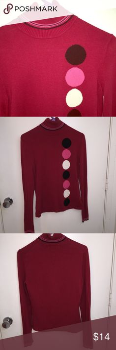 Geoffrey Beene sport pink turtle neck sweater S Geoffrey Beene Sport pink when large polka dots on front turtle neck sweater. Size small. Item is used with normal minimal signs of wear . Feel free to ask questions. Geoffrey Beene Sweaters Cowl & Turtlenecks