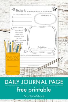 Simple daily journal page printable for children – NurtureStore simple daily journal age for children, homeschool journal printable, homeschool language arts printables Journal Prompts For Kids, Writing Prompts For Kids, Kids Writing, Book Journal, Writing Lessons, Nature Journal, Art Journals, Bullet Journal, Kindergarten Journals