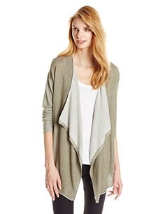 Women's Two by Vince Camuto Drape Front Cardigan Dusty Olive Medium