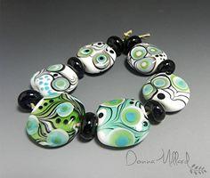 Donna Millard, Dallas, WI, on Etsy, Artisan LAMPWORK Beads handmade beads artisan bracelet, $77.58.