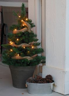 christmas tree, burlap, pinecones (use with mini trees from walmart)
