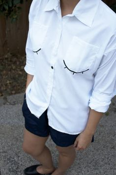 Eyelash embroidered blouse - Not your everyday white button down