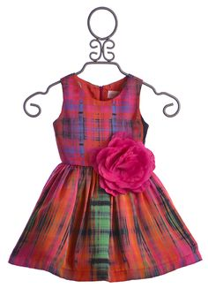 Zoe LTD Abstract Plaid Dress for Girls in Multicolor $192.00