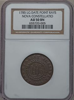 1785 COPPER Nova Constellatio Copper, Pointed Rays, Large Date AU50 NGC. Crosby 4-D, W-1910, High R.4. A smooth and charming chocolate-brown example of this scarce die marriage.