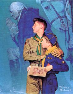 Boy Scouts of America by Norman Rockwell Yeah. No gays in the scouts. Norman Rockwell Art, Norman Rockwell Paintings, The Saturdays, Scouts Of America, Eagle Scout, Cub Scouts, American Artists, Illustrators, Sketches