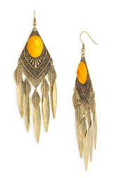 Carole Feather & Facet Antique Brass Statement Earrings : Nordstrom