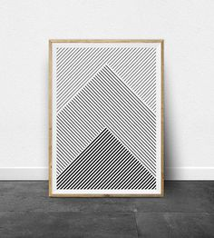 Geometric Print, Geometric Art, Black and White Stripes, Printable Art, Black…