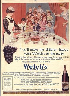 Vintage Welch's ad with birthday party image.
