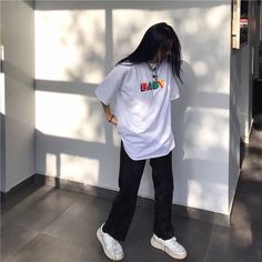 Apr 2020 - Source of zayanyaz T-Shirts Tomboy Outfits Baby Oversize shirt soldrelax Source Tshirts white zayanyaz Indie Outfits, Cute Casual Outfits, Edgy Outfits, Fashion Outfits, Style Fashion, Fashion Tips, Disney Outfits, Grunge Outfits, Fashion Black