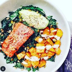 RECIPE:<br> greens of choice (kale, spinach, collard greens) cook in 1 T olive oil, season with garlic & onions <br> salmon (preferably wild) cook at 400 degrees for 25 minutes (at most)<br> squash cubed, cook at 400 degrees for 35 minutes <br> avocado 1/2 Mexican  1 T tzatziki sauce and 1 T sunflower seeds