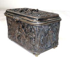 Bronze jewellery case/chest, handmade, Ku2, bucolic scenery - French - ca 1880
