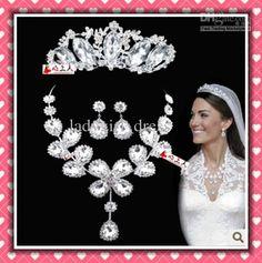Wholesale In stock Kate Cheap Rhinestone Wedding bridal crystal Necklace Earring Tiara set, Free shipping, $25.36/Piece | DHgate
