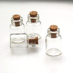 10 pcs Miniature Glass Vial Pendants with Cork and Screw Eyehook, Tiny Mini Empty Small Bottle Jar 24x16mm Charm A29-019 $6.20 with shipping