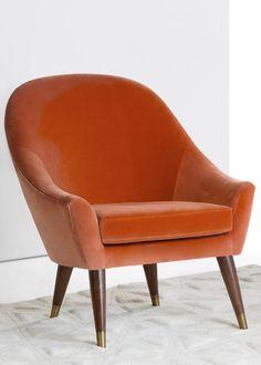 Seattle Armchair, Burnt Orange Cotton Velvet