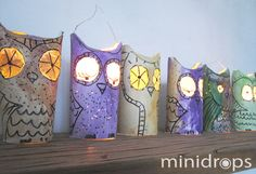 Eulen-Laterne /DIY Owl Lanterns out of toilet paper rolls Toilet Paper Candles, Diy Candles, Owl Lantern, Lantern Craft, Paper Lantern, Diy For Kids, Crafts For Kids, Electric Tea Lights, Theme Harry Potter