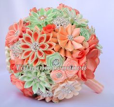 Fabric Wedding Bouquet Brooch bouquet Peach and mint by LIKKO