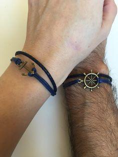 bcf1c3d60d76 Couples Bracelets 316- friendship love cuff bronze anchor rudder charm  bracelet leather braid gift adjustable boyfriend girlfriend
