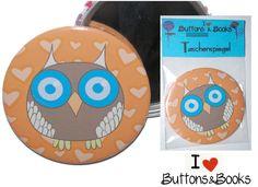 Eule+Taschenspiegel+Handspiegel+59mm+Punkte+blau+von+Buttons&Books+auf+DaWanda.com
