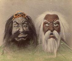japaneseaesthetics:  Two hand-drawn masks. 1909, Japan