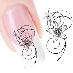 Generic DIY Black Flower Water Transfer Slide Decal Sticker Nail Art ** You can get more details by clicking on the image.