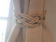 Hemp Rope Beige Rope Carrick Bend Knot Curtain Tie-backs Large Knot Nautical Style Shabby Chic Rope Curtain Gray Tiebacks Hold-backs by AndreaCookInteriors on Etsy (Have other rope styles as well) Shabby Chic Office, Shabby Chic Living Room, Shabby Chic Bedrooms, Shabby Chic Homes, Shabby Chic Furniture, Shabby Chic Decor, French Furniture, Curtain Tie Backs Diy, Curtain Ties