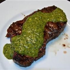 "Chimichurri Sauce | ""This was an excellent recipe!!!! I made it just like the recipe says, served it with steak, and we just loved it!!!! I made chicken the following day and served the leftover sauce on that too. Will make again and again! You have to try this! YUM!"""