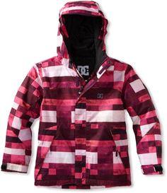 Amazon.com: DC Girl's Farah K Jacket, Crazy Pink Plaid, X-Large: Clothing