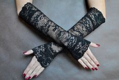 Elegant GOTHIC VAMPIRE Victorian Burlesque Evening Glamour long GLOVES, armwarmers, black lace, goth fingerless mittens by SophieAndHerStore