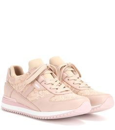 Dolce & Gabbana Nude pink lace and leather sneakers