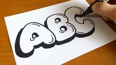 Very Easy ! How to Draw Graffiti Bubble Letters ABC for Kids