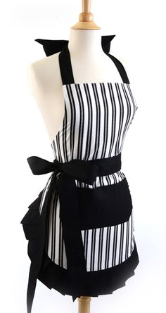 Old Fashioned Aprons, Oven Mitts and Gloves for Sale: Flirty Aprons Women's Original Sassy Pinstripe $34.95   #apron #vintage #retro