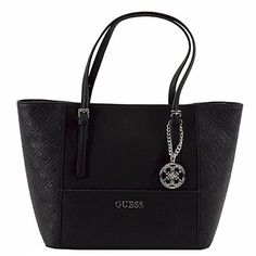 Women's Top-Handle Handbags - Guess Delaney Medium Embossed Classic Tote Black -- Click on the image for additional details.