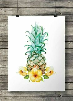 Pineapple and Hibiscus flowers art