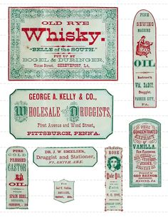 Digital Download Collage Sheet Antique 1800's Vintage Druggists Apothecary Pharmacy Labels 8 (112). $1.00, via Etsy.
