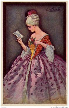 ART DÉCO : JEUNE FEMME avec BILLET DOUX et FLEUR - ILLUSTRATION SIGNÉE: E. COLOMBO - ANNÉE: ENV. 1920 (i-009)