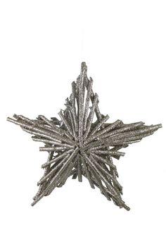 11in Champagne Silver Glitter Twig Star Ornament