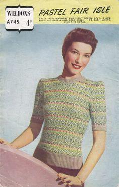 Vintage 1940 s Knitting Pattern Pastel Fair Isle JUMPER in 3 ply Weldons  A745 pdf Download c4ee8c233