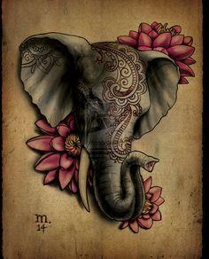 Da Série: Animais -  Elephant tattoo by Ogra-the-Gob on DeviantArt   #Elefante #Flores