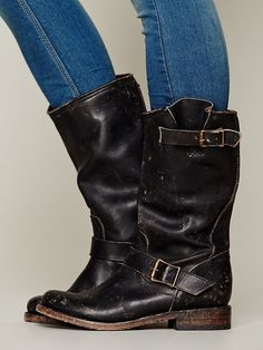 """tough girl boots!    TRACI FRENCH it's called a """"addiction""""....I can't help myself when it comes to boots! TALL BOOT by Steven Prescott $288.00  DETAILS Distressed leather ankle boot with bronze hardware detailing. The perfect leather boot for the fall!  *By FREEBIRD by Steven  *Leather"""