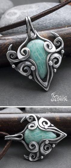 Amazonite silver pendant // Amazonite wire wrapped sterling silver necklace // Wire wrapped amazonite // Wire wrap amazonite stone