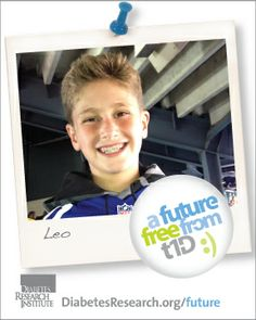 A Future Free from T1D would be so much better! For Leo, he would be able to stop worrying about his high blood sugar numbers and get rid of his insulin pump. Please give to a cure and to A Future Free from #T1D at www.DiabetesResearch.org/Future.